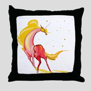 Yellow & Orange Unicorn Throw Pillow