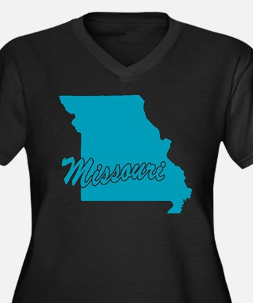 State Missouri Women's Plus Size V-Neck Dark T-Shi