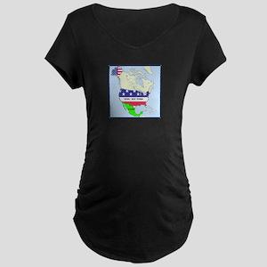 Funny Mexico America Map Maternity Dark T-Shirt