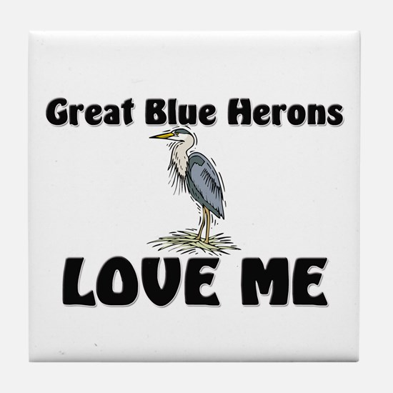 Great Blue Herons Love Me Tile Coaster