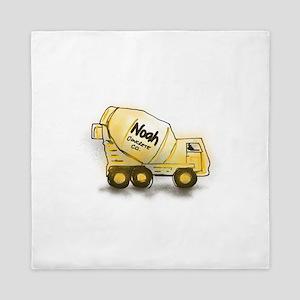Noah - Boys Names Concrete Truck Queen Duvet
