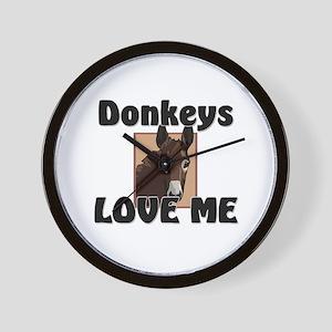 Donkeys Love Me Wall Clock