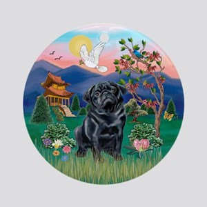 Pagoda / Black Pug Ornament (Round)