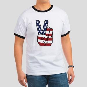 American Flag Peace Hand Ringer T