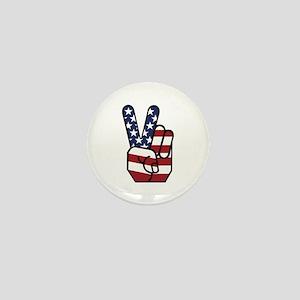 American Flag Peace Hand Mini Button
