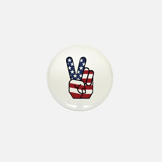 American Flag Peace Hand Mini Button
