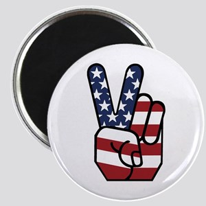 American Flag Peace Hand Magnet