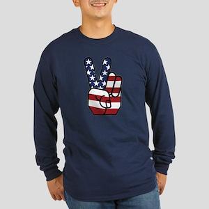 American Flag Peace Hand Long Sleeve Dark T-Shirt