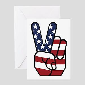American Flag Peace Hand Greeting Card