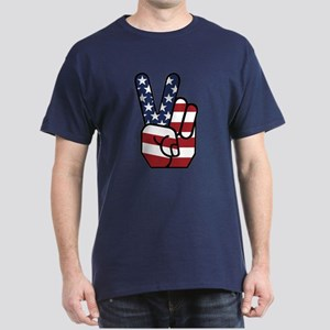 American Flag Peace Hand Dark T-Shirt