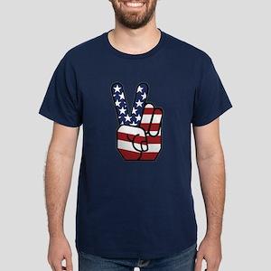 American Flag Peace Hand Dark T-Shirt