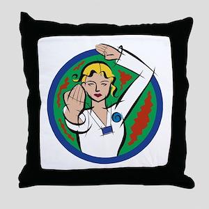 Female Martial Arts Throw Pillow