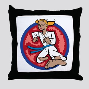 Karate kick! Throw Pillow