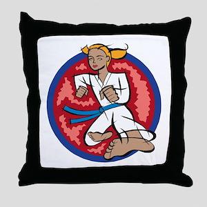 Karate kick! Throw Pillow