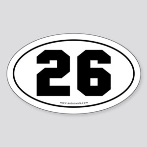 #26 Euro Bumper Oval Sticker -White