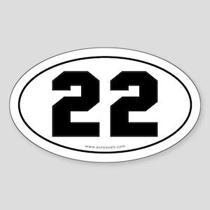 #22 Euro Bumper Oval Sticker -White