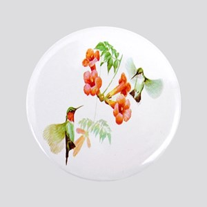 "Ruby Throated Hummingbird 3.5"" Button"