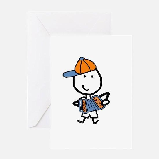 Boy & Accordion Greeting Card