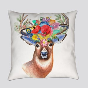 Floral Deer Antlers Everyday Pillow