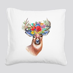 Floral Deer Antlers Square Canvas Pillow