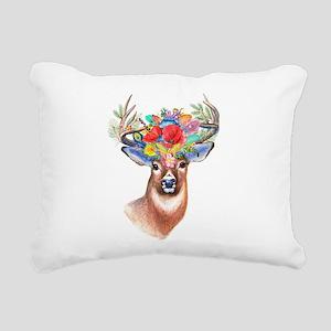Floral Deer Antlers Rectangular Canvas Pillow
