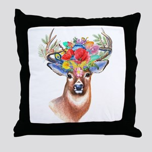 Floral Deer Antlers Throw Pillow