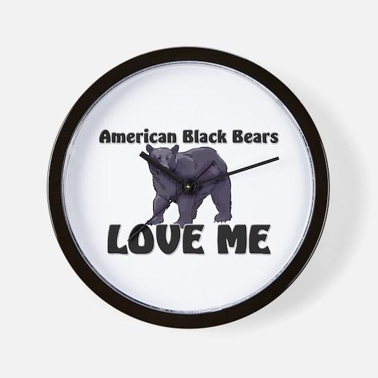 American Black Bears Love Me Wall Clock