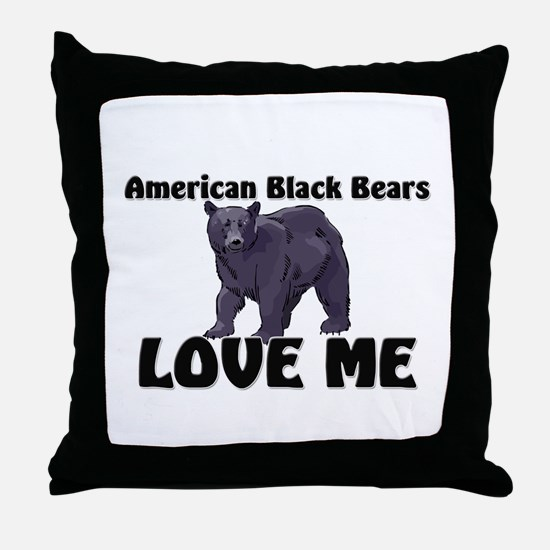 American Black Bears Love Me Throw Pillow