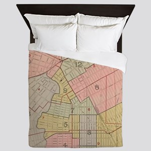 Vintage Map of Elizabeth NJ (1902) Queen Duvet