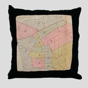 Vintage Map of Elizabeth NJ (1902) Throw Pillow