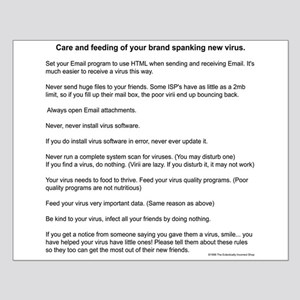 Virus Care Instructions Small Poster