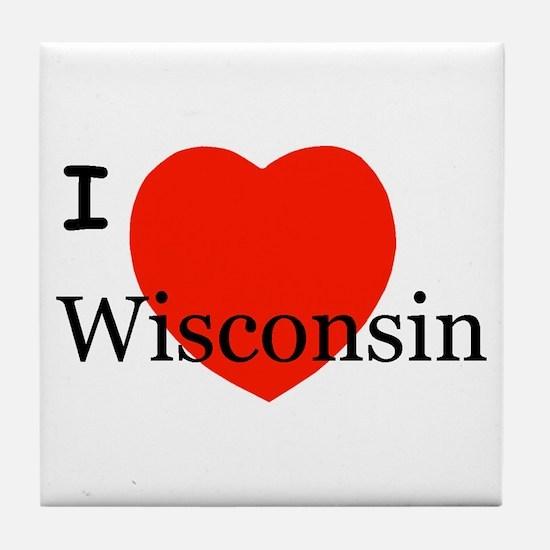 I Love Wisconsin! Tile Coaster
