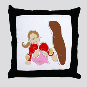 Angry Female Boxer Throw Pillow