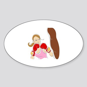Angry Female Boxer Oval Sticker