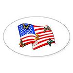 American Flag Butterflies Sticker (Oval 50 pk)