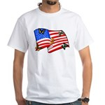 American Flag Butterflies White T-Shirt