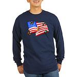 American Flag Butterflies Long Sleeve Dark T-Shirt