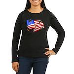 American Flag Butterflies Women's Long Sleeve Dark