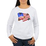 American Flag Butterflies Women's Long Sleeve T-Sh