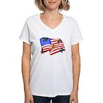 American Flag Butterflies Women's V-Neck T-Shirt