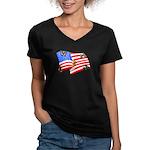 American Flag Butterflies Women's V-Neck Dark T-Sh