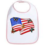 American Flag Butterflies Bib