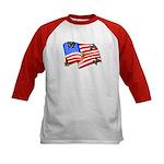 American Flag Butterflies Kids Baseball Jersey