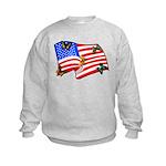 American Flag Butterflies Kids Sweatshirt