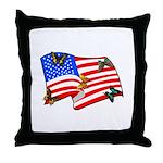 American Flag Butterflies Throw Pillow