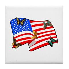 American Flag Butterflies Tile Coaster