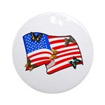American Flag Butterflies Ornament (Round)