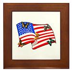American Flag Butterflies Framed Tile