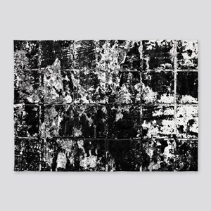 Black and White Grungy tiles 5'x7'Area Rug