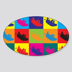 Rafting Pop Art Oval Sticker